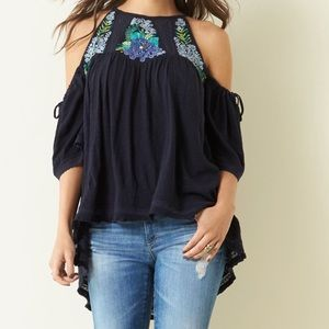 Free People Fast Time Cold Shoulder Navy Top XS